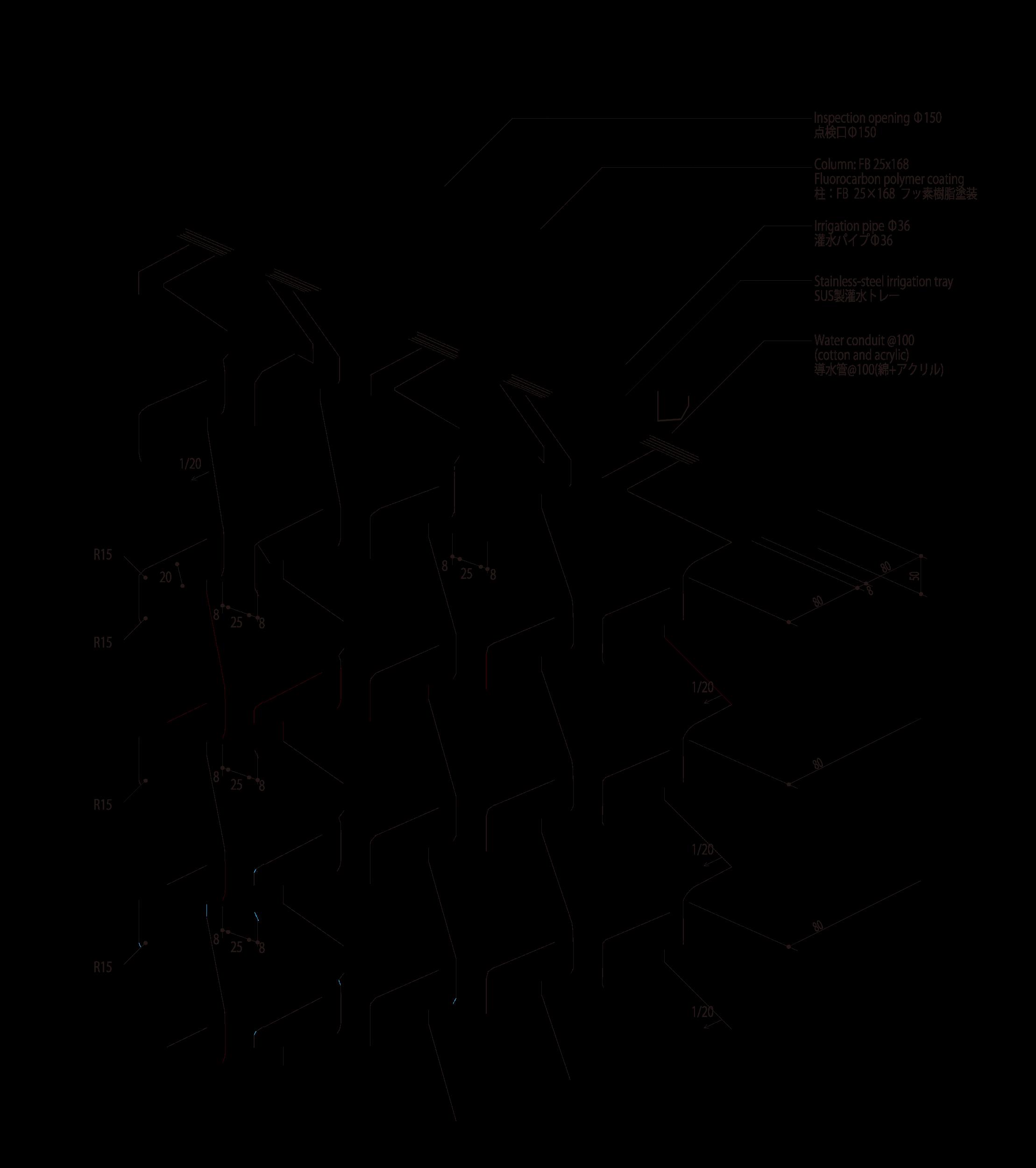 灌水トレーに取りつけられた灌水パイプの毛細管現象によって、それぞれのGRCに等しく水が届けられる。 photo